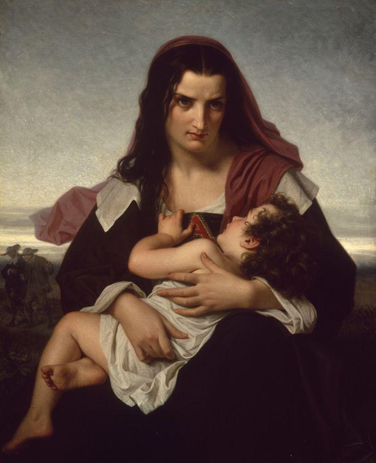 """""""La lettera scarlatta"""", dipinto di Hugues Merle ispirata al romanzo di Nathaniel Hawthorne. Hester appare in primo piano e sullo sfondo s'intravedono il marito e l'amante."""