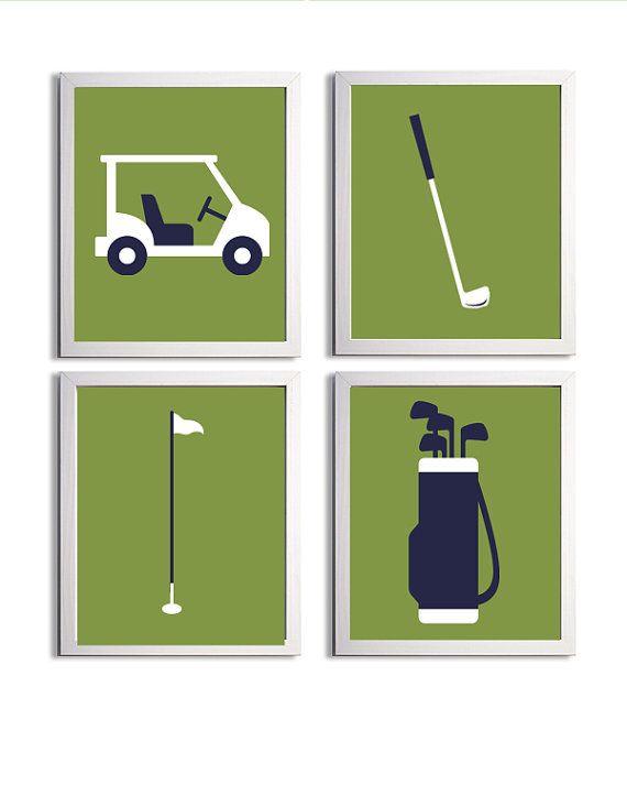 Items similar to Golf Sports Nursery Art Prints  Green Navy Nursery Golf  Wall Art Decor  Set of 4 Nursery Golf Art  Kids Golf Wall Decor  Toddler  Sports Art. 14 best golf nursery images on Pinterest   Golf nursery  Golf