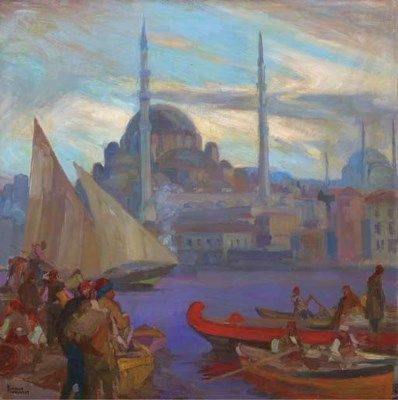 Dominique Charles Fouqueray (French, 1872-1956)  A View of the North-Western Facade of Yeni Cami situated along the Golden Horn with the Dome and Minarettes of Hagia Sophia behind, Constantinople signed 'DCHARLES FOUQUERAY' (lower left)  oil on canvas  30 x 29.5 in. (76.2 x 75 cm.)  I Christie's Sale 1717
