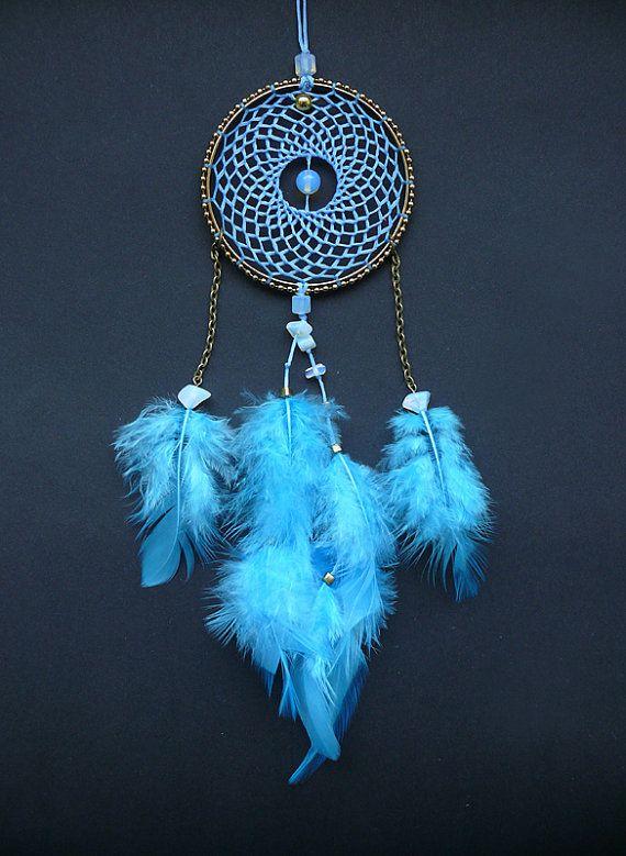 Blue dreamcatcher dream catcher car accessory decor charm dangle pendant boho hippie decoration rear view mirror charm