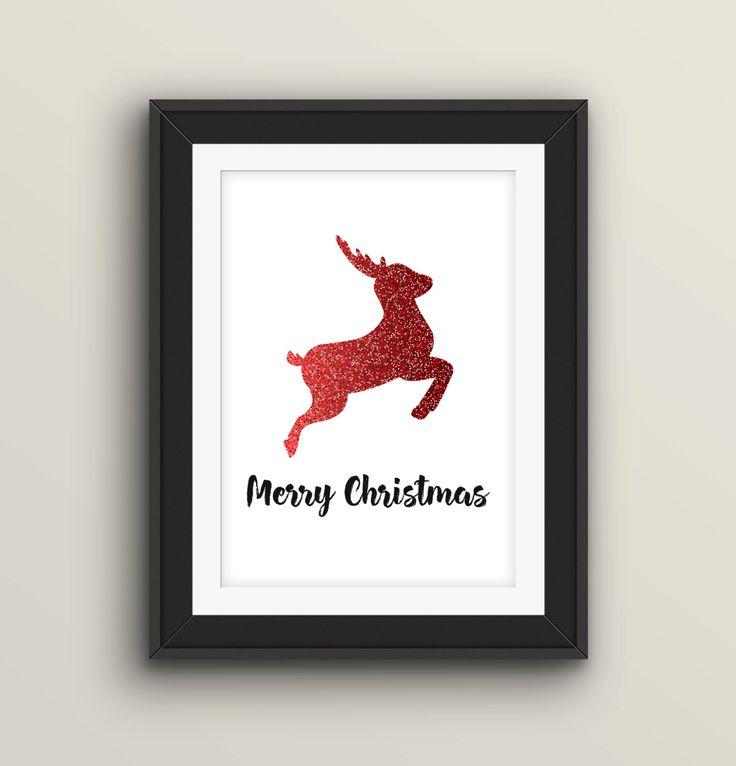 Printable Christmas Card, Santa's reindeer ,8x10, Christmas Poster, Xmas Note Card, Holiday Wall Decor, Christmas Prints by Edelveys on Etsy