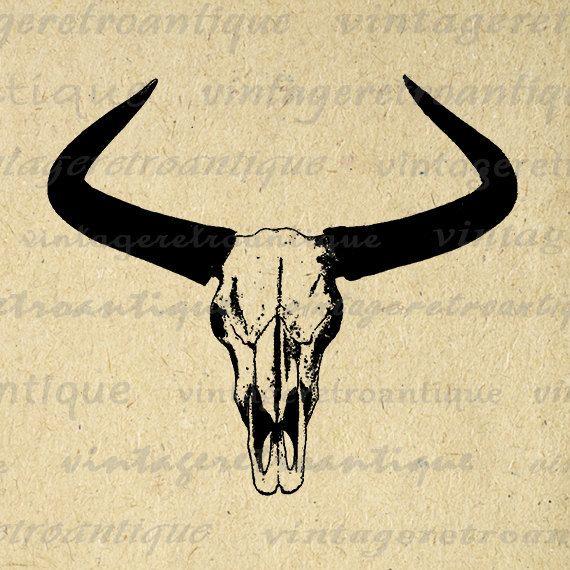 Western Horns Graphic Digital Printable Cow Skull Download Bull Image Antique Clip Art Jpg Png Eps 18x18 HQ 300dpi No.556 @ vintageretroantique.etsy.com