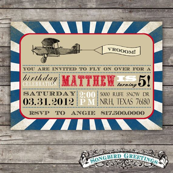 Printable Vintage Airplane Party Collection Diy By: DIY Printable Airplane Birthday Invitation--customizable