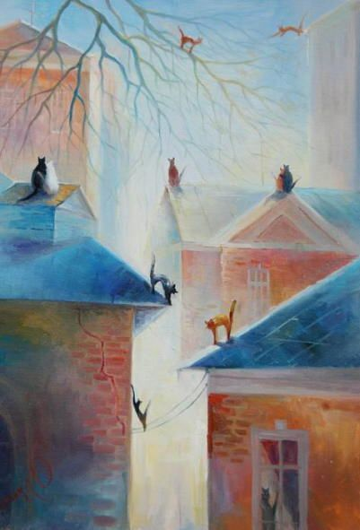 Romantic cats painting. Love in Spring