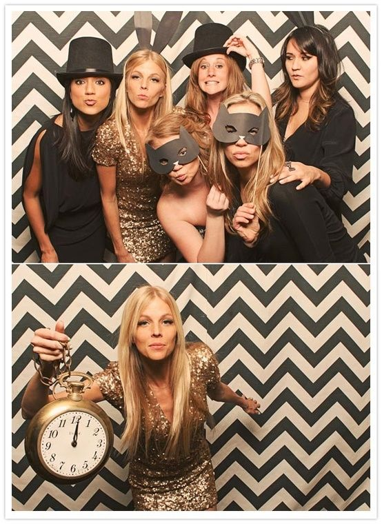 Chevron backdrop and props for New Year's photobooth fun! #whbm #feelbeautiful