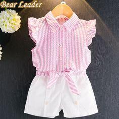 líder del oso establece conjuntos de ropa muchachas 2017 niños del verano de la ropa rechazar la camisa de manga collar de la mariposa ocasional + pantalones cortos de 2 piezas de trajes en la madre y Niños Ropa pone en AliExpress.com | Grupo Alibaba