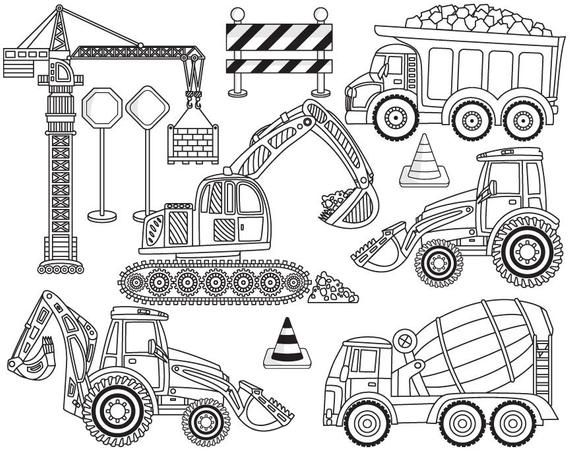 Construction Clipart Vector Construction Clipart Crane Etsy Clip Art Truck Coloring Pages Coloring Pages