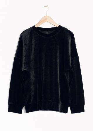 & Other Stories image 2 of Velvet Sweatshirt in Black