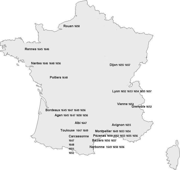 На карте Фр.показаны места турне труппы Мольера в 1645- 1658г.Вступив в жест. конкур-цию с уже популяр.в Париже труппами Бургундского отеля и Марэ, «Блистательный театр» в 1645г. проигрывает;Мольер с друзьями-актёрами решают иск.счастья в провинции,примкн.к труппе бродяч.комедиантов,возглавл. Дюфреном.Скитания Мольера по фр. провинции на протяж.13 лет (1645-1658) в годы гражд.войны (фронды) обогатили его житейс.и театр.опытом.Репертуар.голод труппы Мольера явился стимулом к нач.его…