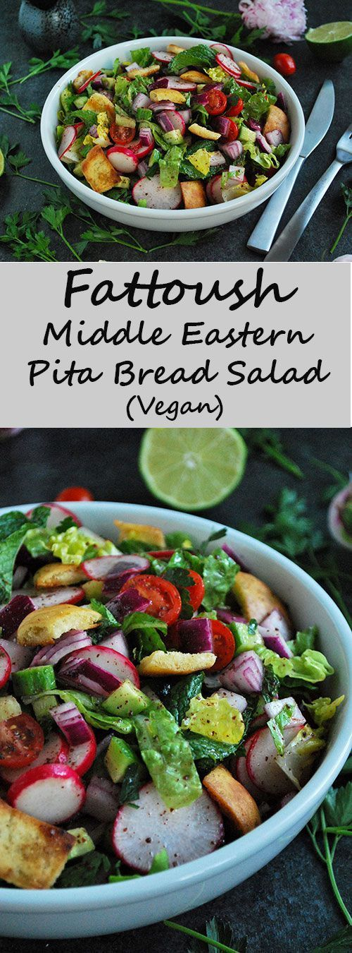 Fattoush Salad - Vegan Middle Eastern Pita Bread Salad