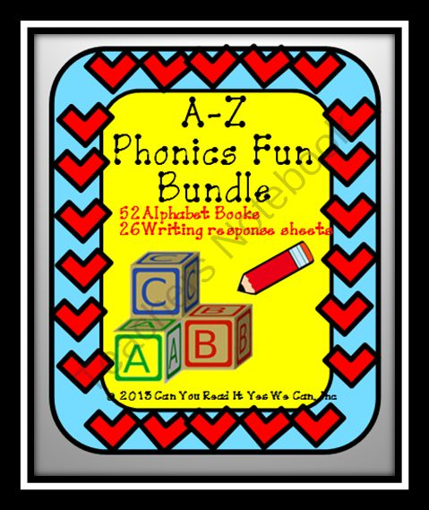A-Z Phonics Fun: 52 Printable Books and 26 Writing Response Sheets from Can You Read It on TeachersNotebook.com (525 pages)  - Phonics Fun A-Z http://www.teachersnotebook.com/shop/CanYouReadIt