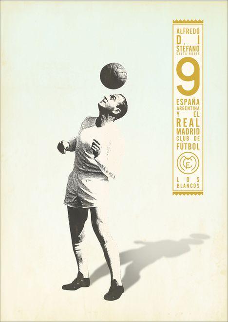 Cartazes vintage de jogadores de futebol