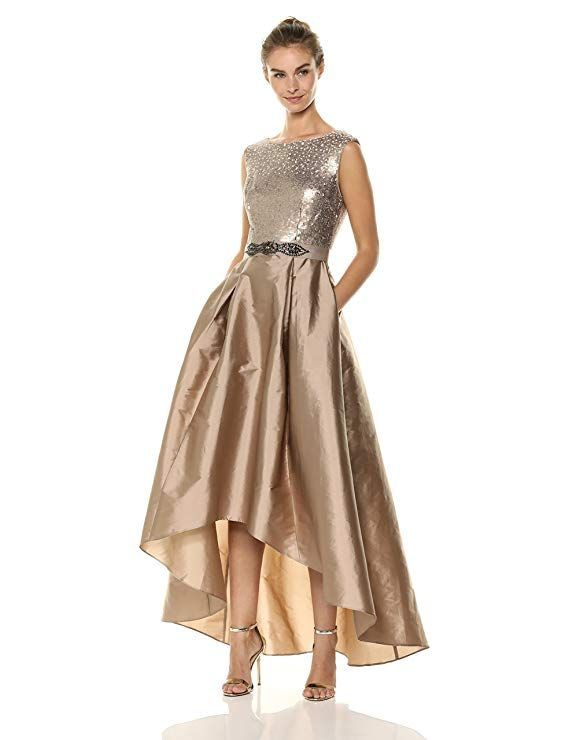 01c8992b01ab Adrianna Papell Women s Ombre Sequin High-Low Taffeta Skirt Special  Occasion Dress