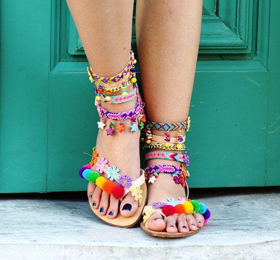 SALE 50% OFF Pom Pom 'Rainbow' Festival Sandals
