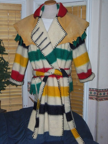 Hudson Bay 4 Point Blanket Capote with Buckskin Cape Mountain Man Rendezvous XL | eBay