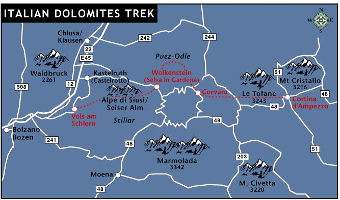Route map of the dolomites trek italian excursions for Where are the dolomites located in italy