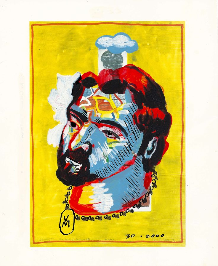 Selfie of the artist as a young man, post card painting #6, by #artist Vince Mancuso.