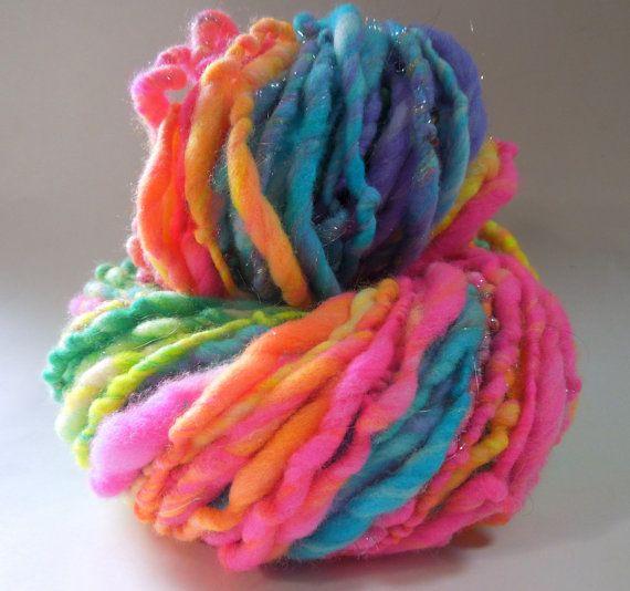 Grateful Dreads Handspun Yarn Thick and Thin by RainbowTwistShop, $38.75