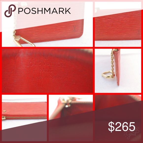 """RARE Epi Pochette Red Louis Vuitton Wallet Epi Leather Canvas W13 × H9 × D2 cm(Approx) W5.1 x H3.5 x D0.7"""" (Approx) Serial Number CA0956 Good Condition Awesome Buy! Louis Vuitton Accessories Key & Card Holders"""