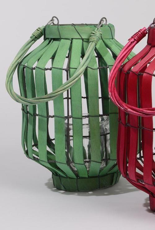 "20"""" Tropicalia Green Cabana Tiki Bar Votive Candle Holder Lantern"