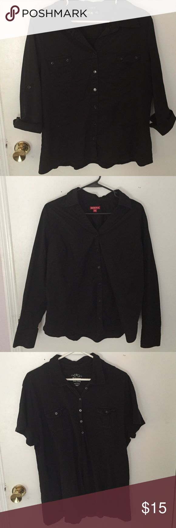 3 piece bundle of women black shirts 🔹#1 black shirt is essential Apt 9 brand size XL🔹#2 black long sleeve shirt size XXL (fits like XL) is Merona brand🔹#3 shirt is size XXL (fits like XL) and is short sleeve Old Navy Brand🔹 perfect for people in any employment that requires a black shirt🔹excellent used condition old navy, merona,Apt 9 Tops Button Down Shirts