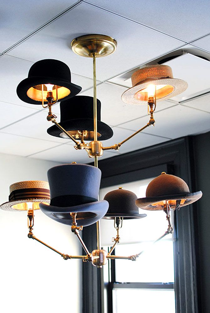 Lustre aux chapeaux victoriens - Fueled Collective - A tech start-up's office goes steampunk - Homepolish NYC