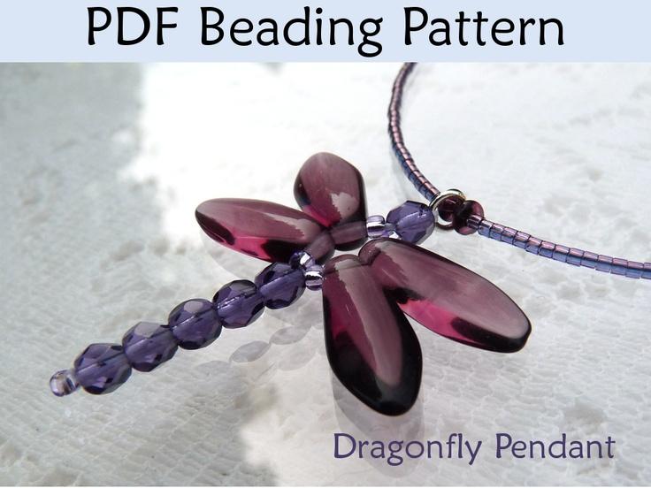 bead dragonfly | Beaded Dragonfly Pendant PDF Beading Pattern |