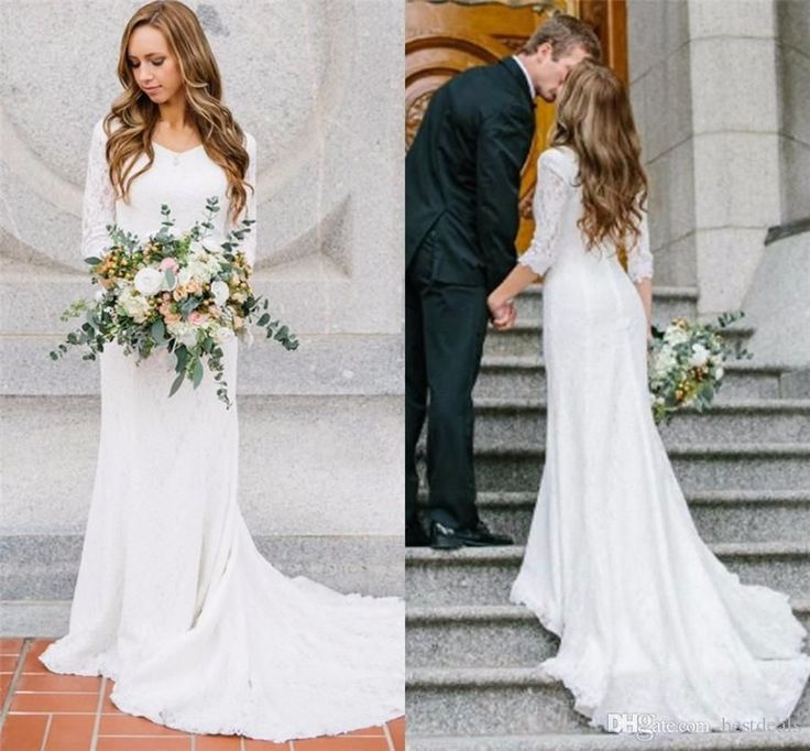 Vintage Modest Wedding Dresses With Long Sleeves Bohemian Lace Chiffon Wedding Gowns 2017 Country Wedding Dress Vintage Wedding Gown Wedding Dress China From Bestdeals, $116.96| Dhgate.Com