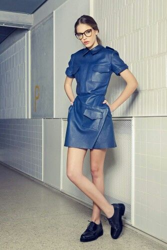 Blue navy leather dress