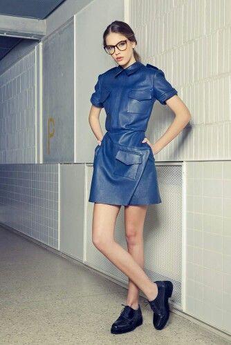 Blue navy leather dress