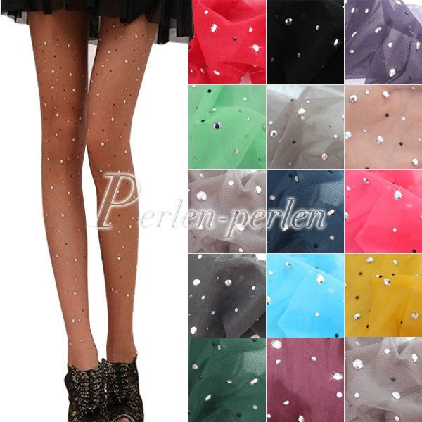 Sexy Womens ladies BASIC Stretch Woman Sexy Thin Bling Crystal Rhinestone Pantyhose Tights Stockings Free Shipping BD0067 $4.49