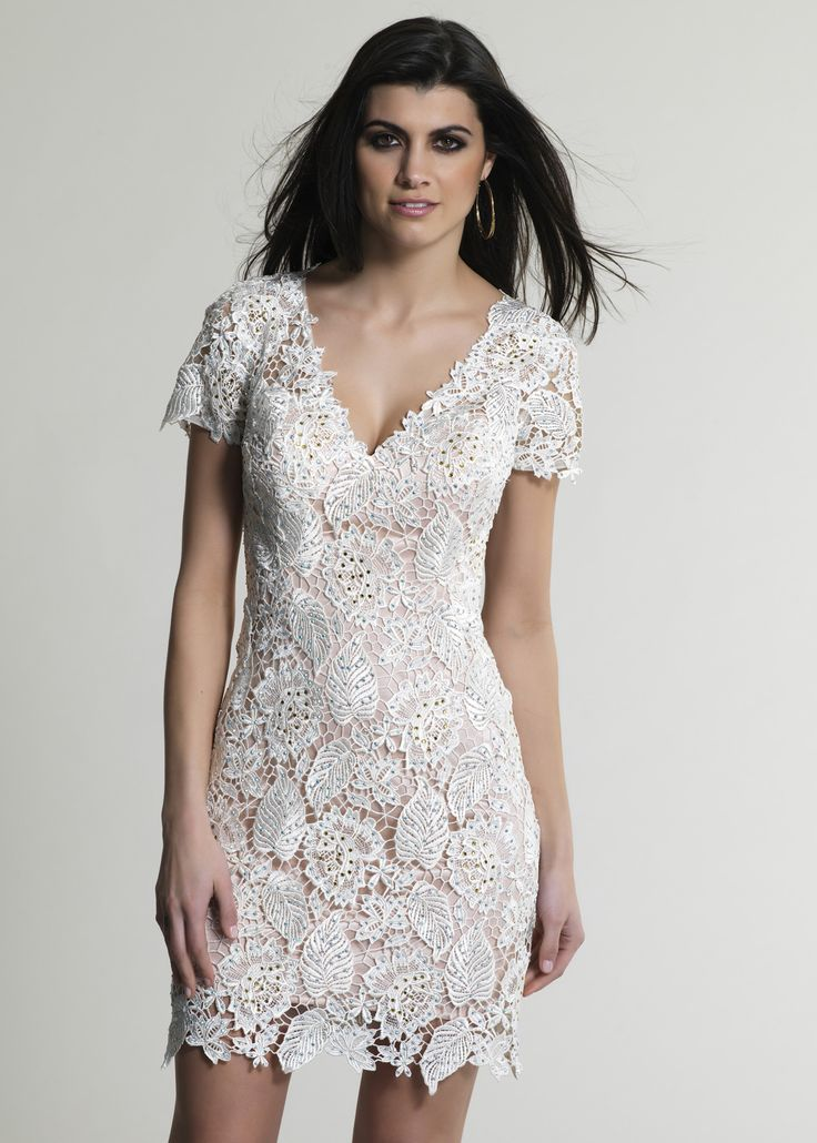 White short sleeve lace cocktail dress rehearsal dinner for Cocktail dress with sleeves for wedding