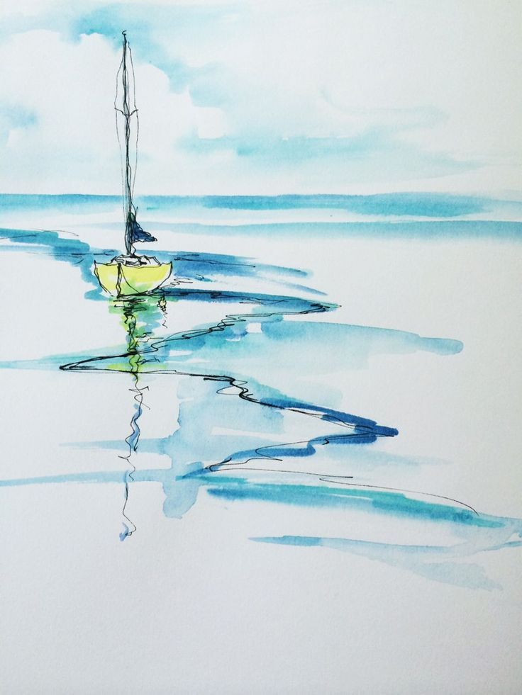 inspiration for simple seascape watercolours , ideas for the outdoor painter A line-and-wash painting of a sailboat.