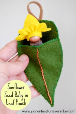 Gumnut Sunflower Seed Baby in a felt leaf pouch!  No. 19 in the 30 days of Nature Crafts series with Amber Greene     www.parentingfuneveryday.com