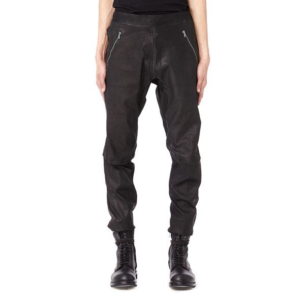 Isaac Sellam Leather Trousers (£1,060) ❤ liked on Polyvore featuring men's fashion, men's clothing, men's pants, men's casual pants and mens leather pants