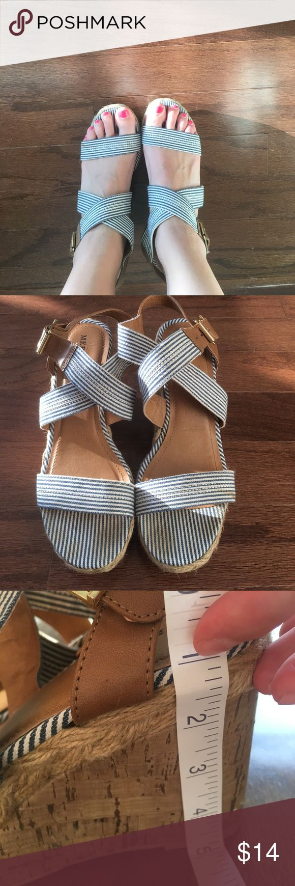 Blue and white wedge heels Merona blue and white striped wedge heels! Heel measures about 5 in. Minimal wear, some staining can be seen around toe area as shown in picture. Merona Shoes Wedges