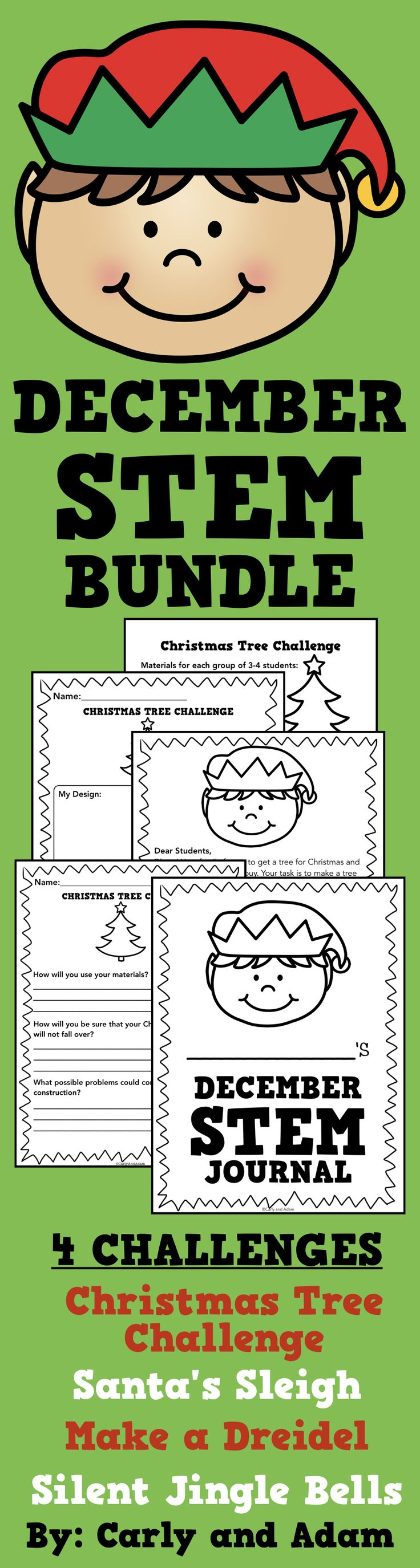 December Christmas and Hanukkah STEM Activities (Chanukah)  Students love completing these Christmas and Hanukkah themed STEM challenges! The students receive letters from the STEM elf who presents them with various challenges that they need to solve using STEM. These are great engaging activities for students to complete during the month of December! 4 Activities are Included: Christmas Tree Challenge, Silent Jingle Bells, Make a Dreidel, and Santa's Sleigh.