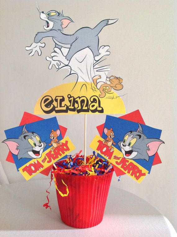 PRINTABLE DIY Tom and Jerry Centerpiece, front and back by PartiesByTristan on Etsy, $5.00
