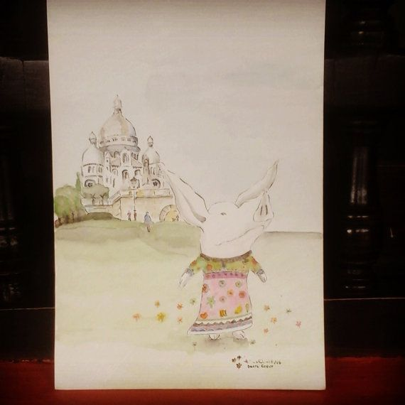 Olivia in Sacre Coeur  Paris / Original in Watercolor by MAramburo