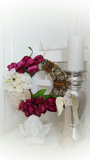 Gyönyorű Hortenzia es Tulipán ajtodisz vagy dekoracio♡ Facebook:Barbi Világa  Hydrangea Tulip wreath♡