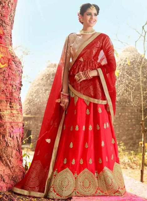 Red Heavy Designer Bridal Wear Lehenga Choli