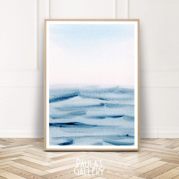 Blue Ocean Watercolor Print Wall Art Abstract Watercolour