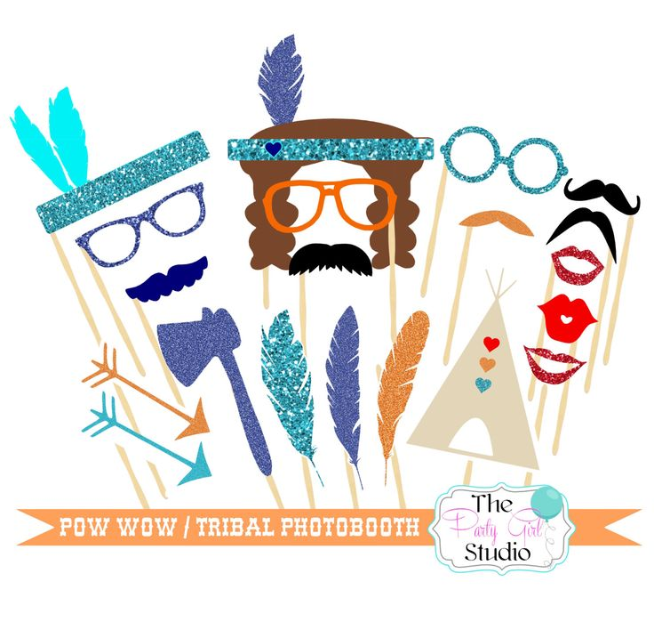 20pc * Tribal Party/Pow Wow Party Photo Booth Props - DIGITAL FILE by ThePartyGirlStudio on Etsy