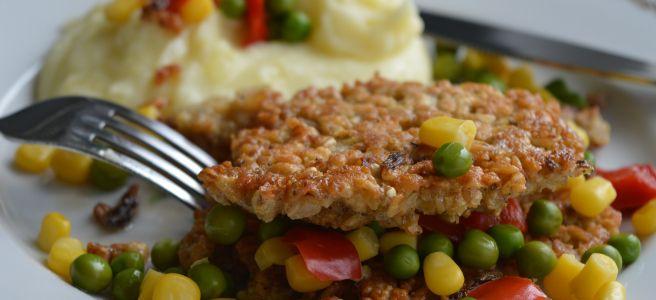 Savoury Oatcakes with Mashed Potato and Vegetable Garnish
