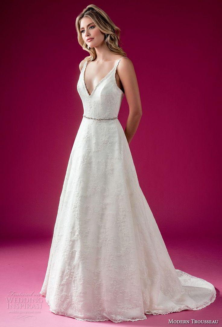 modern trousseau fall 2018 bridal sleeveless deep v neck light embellishment elegant a line wedding dress chapel train (viola) mv