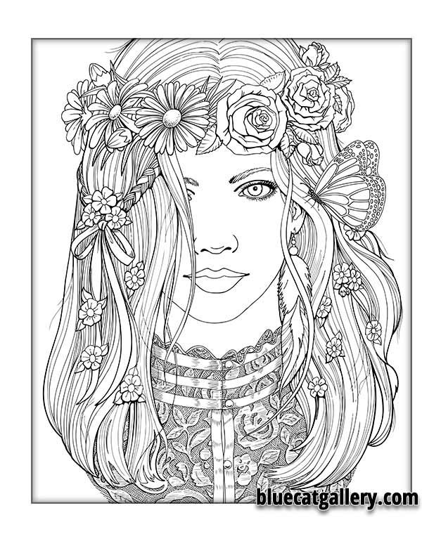 beautiful girl coloring pages - photo#22