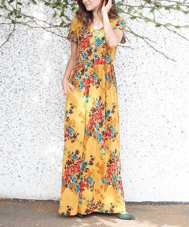 fa415bff3efe Another great find on #zulily! Mustard & Blue Floral Side-Pocket Maxi Dress  - Women #zulilyfinds