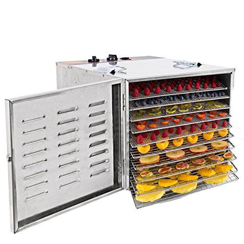 Iglobalbuy 1000W Stainless Steel 10Tray Countertop Food Dehydrator Fruit Jerky Dryer Food Saver Preserver Dehydration Vegetable Meat Beef Jerky Maker W TimerTemperature Control for a Healthy Diet