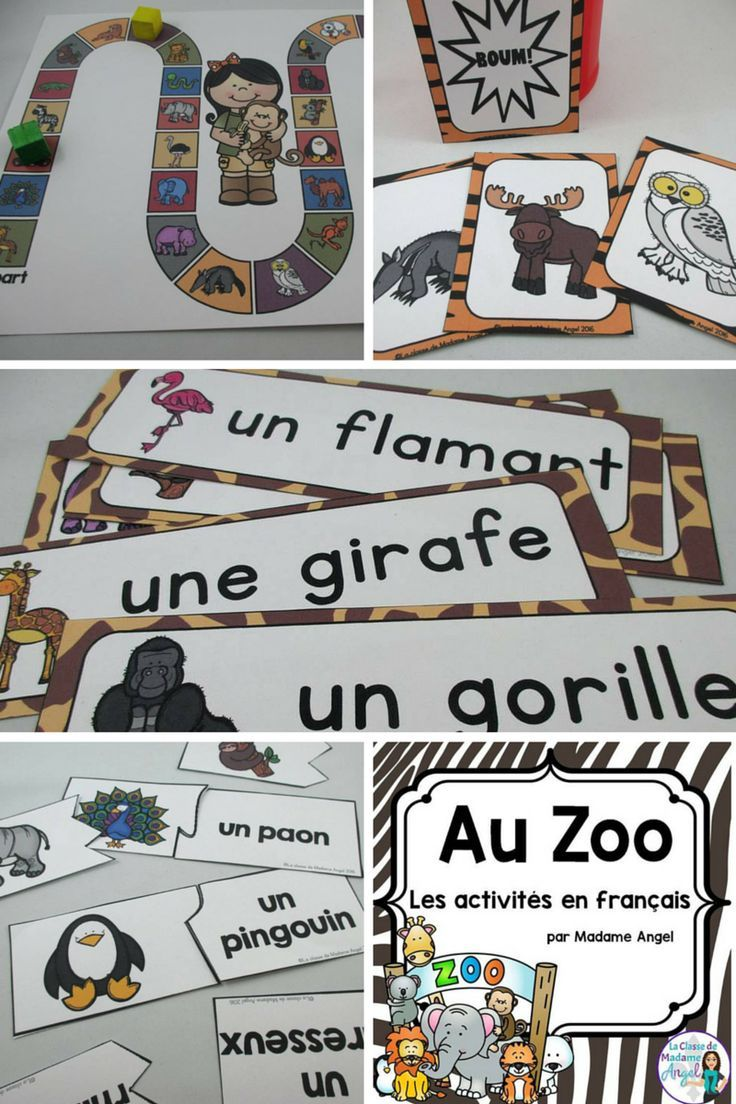 Au Zoo!  Excellent set of vocabulary resources and games for your French Immersion or Core French classroom!