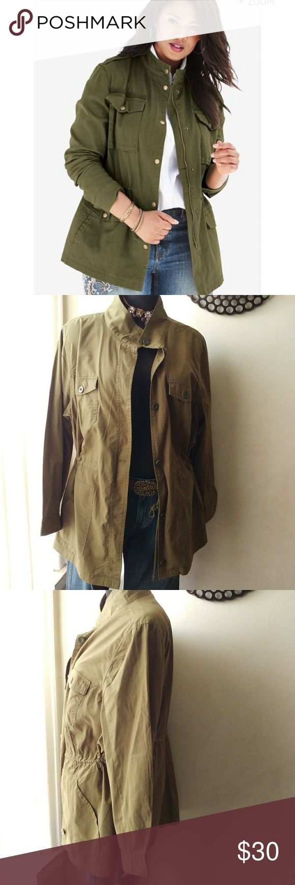 Nwt Super Cute Utility Jacket plus Size New never worn. Great lightweight jacket perfect for layering. Stay on trend with this piece. 27 inches pit to pit 30.5 inches in length.Button down closure with adjustable drawstring waist.; If you have any questions please feel free to ask Woman Within Jackets & Coats Utility Jackets